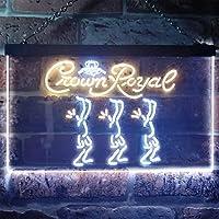 Crown Royal Beer LED看板 ネオンサイン バーライト 電飾 ビールバー 広告用標識 ホワイト+イエロー W40cm x H30cm