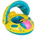 ベビー 幼児用 ベビーフロート 足入れ式 屋根付き 子供用浮き輪 水泳補助具 ハンドル付き 6-36ヵ月