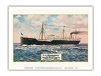 S・ウィルヘルミナ - サンフランシスコからホノルルへの週刊セーリング - マトソンナビゲーション - ビンテージなハワイアンカラーのハガキ c.1917 - アートポスター - 23cm x 31cm