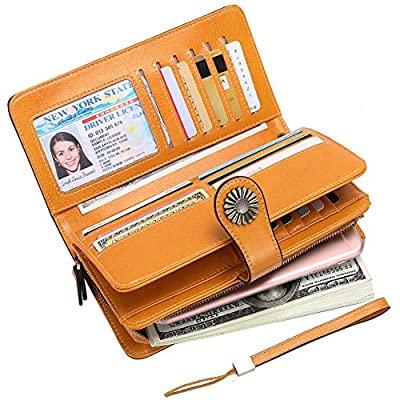 Elegant 24 cc Slots Wallets Lady Large Capacity Leather Purse Long Trifold Womens RFID Blocking Clutch with Wristlet Strap