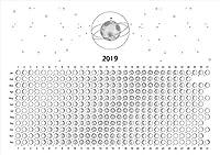 月の満ち欠けカレンダー 2019 ポステッカー ポスター シール 飾り 210×297㎜ A4 写真 フォト 壁 インテリア おしゃれ 月 moon 満月 天体 神秘 pa4wsxxxxx-016850-ds