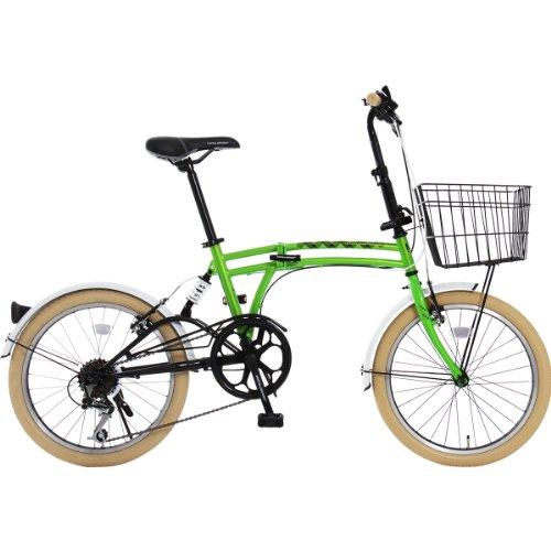 DOPPELGANGER(ドッペルギャンガー) 折りたたみ自転車 m6シリーズ m6-GREEN 20インチ パラレルツインチューブフレーム採用モデル かご・泥除け付き