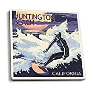 Huntington Beach , California – Night Surfer 4 Coaster Set LANT-43419-CT