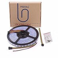 VISDOLL 12V WS2812B 個別アドレス可能 ドリームカラー LEDストリップライト 5050 RGB 16.4フィート デュアルシグナルワイヤ プログラム可能なLEDピクセル フレキシブルライトテープ WS2815 Tub Waterproof ブラック