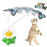 Demiawaking 猫おもちゃ 子猫をじゃらす 電動躍る蝶々 ネズミ 色と動物がランダム出荷