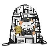NIKE リュックサック クリエイティブデザインBattleBlock Theater猫巾着バックパックスポーツバッグの男性と女性 One Size ホワイト DeepAlley-White-29
