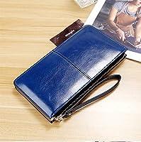 HAPPY HOME 大容量のクラッチの女性の長財布の女性の財布ジッパーバックル財布韓国語版 (Color : Blue)