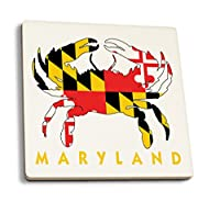 メリーランド州–Crabフラグ(ホワイトwithイエローテキスト) 4 Coaster Set LANT-55404-CT