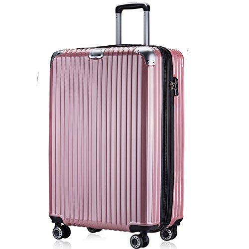 OTT スーツケース 超軽量 TSAロック搭載 Wファスナータイプ 容量拡張 大容量 最大容量20%アップ(L,ローズゴールド)