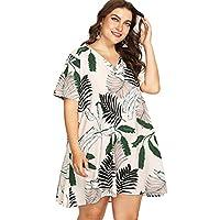 Floerns Women's Plus Size Short Sleeve V Neck Palm Print Tunic Dress