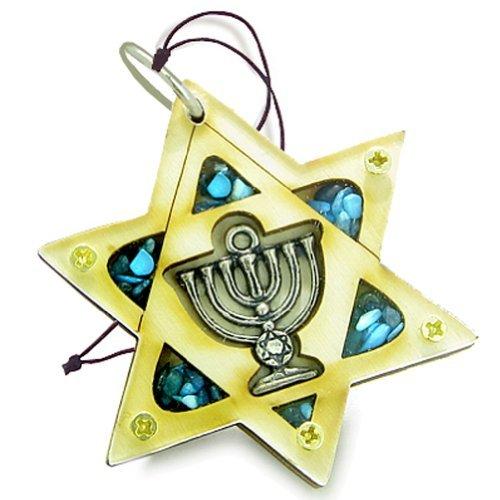 Holy Land Amulet King of Solomon Star Minora Blessing木製Lucky車チャーム