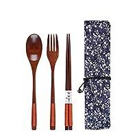 食器セット、AmaMaryヴィンテージ木製箸スプーンフォーク食器3個セット新しいギフト卡其线+牵牛花布袋