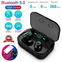 ワイヤレスヘッドフォン、IPX7防水Bluetooth 5.0ヘッドフォンスポーツインイヤーTrue Wireless Earbudsステレオヘッドセット、LEDパワーディスプレイ、タッチ操作