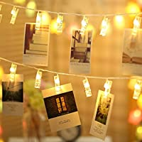 TECKEPIC LEDストリングライト 20LED写真/絵クリップ DIY吊り下げる飾り 2.2M イルミネーションライト 電池駆動式 クリスマス/新年/結婚式/誕生日/パーティー (ウォームホワイト)