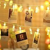 TECKEPIC LEDストリングライト 20LED写真/絵クリップ DIY吊り下げる飾り 2.2M イルミネーションライト 電池駆動式 クリスマス/新年/結婚式/誕生日/パーティー (ウォームホワイト)の写真