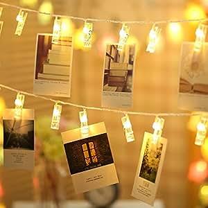 Gledto LEDストリングライト 20LED写真/絵クリップ DIY吊り下げる飾り 2.2M イルミネーションライト 電池駆動式 クリスマス/新年/結婚式/誕生日/パーティー ( ウォームホワイト)