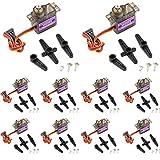 LeaningTech 10個mg90sマイクロサーボモーター9G RCロボットヘリコプター飛行機ボートコントロール