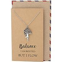 Quan Jewelry ヨガ Vriksasana アサナ ツリー ポーズ 瞑想 ペンダント ネックレス グリーティングカード インスピレーションを与える引用カード