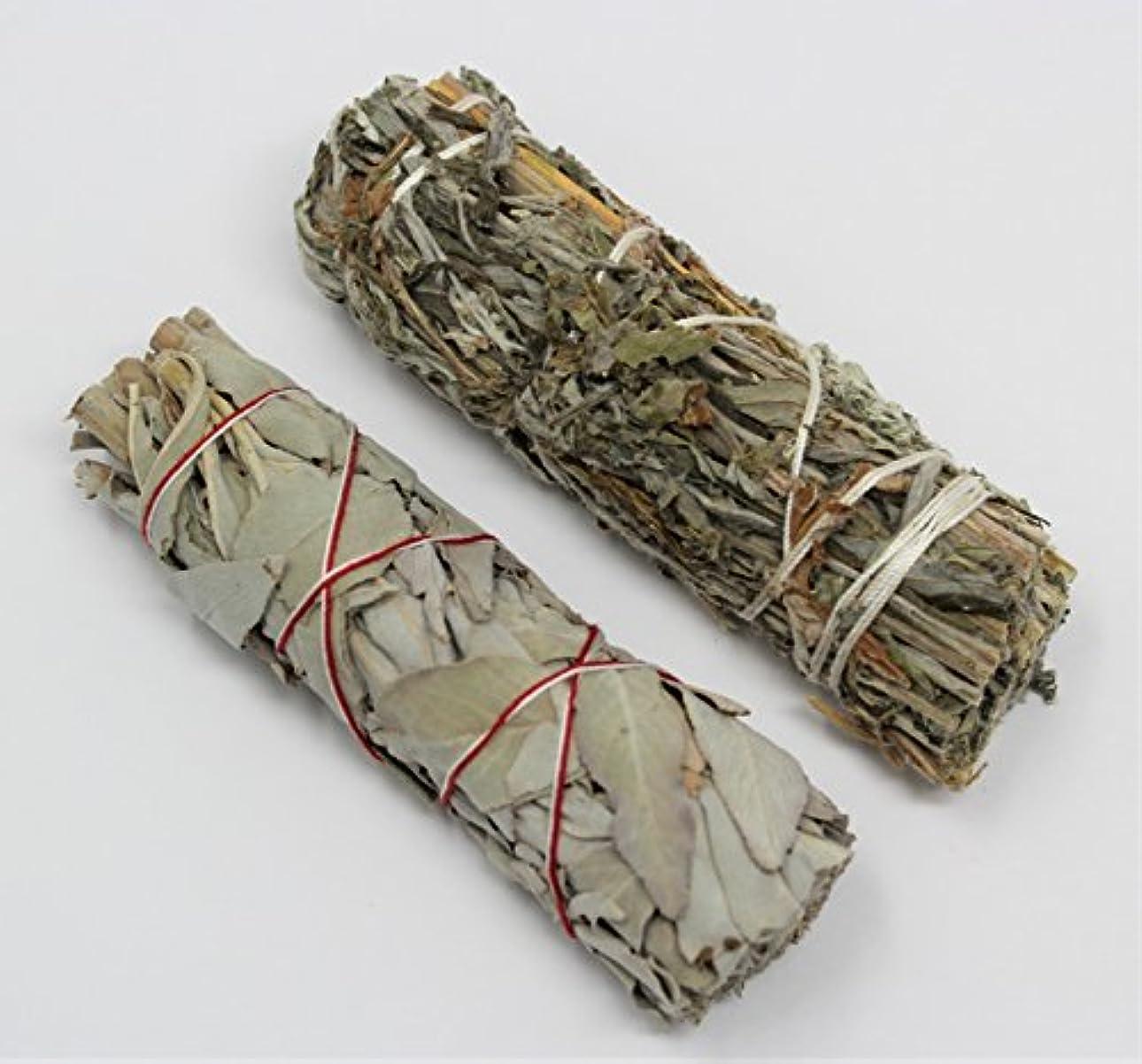 堂々たる予測子慎重カリフォルニアホワイトセージ、ブラックセージ( Mugwort ) Smudge Sticks 2 Pack