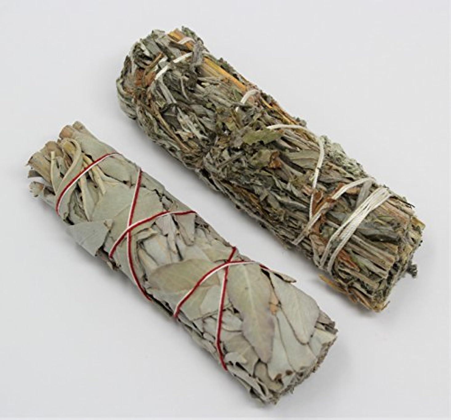 矛盾する偶然頬カリフォルニアホワイトセージ、ブラックセージ( Mugwort ) Smudge Sticks 2 Pack