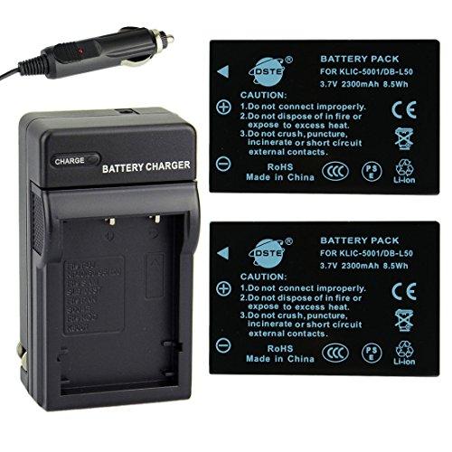DSTE® アクセサリーキット Kodak KLIC-5001 DB-L50 互換 カメラ バッテリー 2個+充電器キット対応機種 Easyshare P850 Z760 DX7440 DX7590 DX7630 Zoom Sanyo DMX-FH1 FH11 HD1000 HD2000 VPC-HD1010