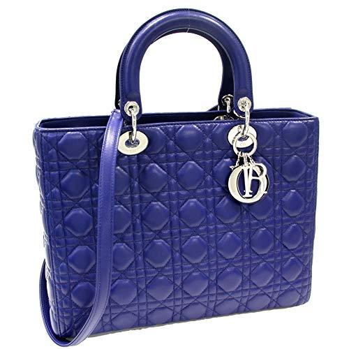 (クリスチャン・ディオール)Christian Dior 2WAYハンドバッグ レディディオール ラージバッグ ラムスキン ブルー CAL44561