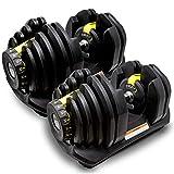 MRG 可変式 ダンベル 40kg 2個セット アジャスタブルダンベル 5~40kg 17段階調節 ダイヤル 可変ダンベル [1年保証] (イエロー)