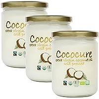 COCOCURE 有機 JAS オーガニック フェアトレード エキストラ バージン ココナッツオイル コールドプレス製法 3個