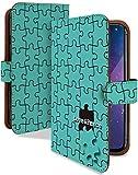 Xperia XZ Premium ケース 手帳型 パズル ライム パズル柄 スマホケース エクスペリア プレミアム 手帳 カバー XperiaXZ SO-04J so04jケース so04jカバー ピース ジグソーパズル [パズル ライム/t0689c]