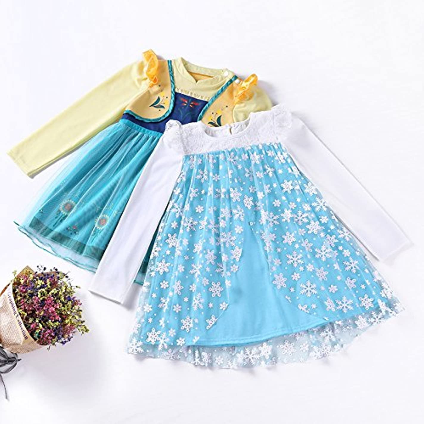 自動化再び剪断m142 アナ雪ドレス エルサドレス プリンセスドレス キッズ 子供用ドレス 女の子 雪の女王 子供プリンセスドレス ドレス なりきり お姫様 ふんわり (100, アナワンピース)