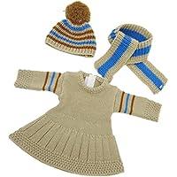 Lovoski 18インチアメリカガールドール人形用 カーキー セーター ドレス ロングネック スカーフ 帽子
