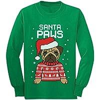 Santa Paws Pug Ugly Christmas Sweater Dog Youth Kids Long Sleeve T-Shirt