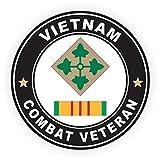ミリタリーペットショップマグネット アメリカ陸軍第4歩兵師団 ベトナム戦闘退役軍人 リボン付き ビニールマグネット 車 冷蔵庫 ロッカー メタルデカール 3.8インチ