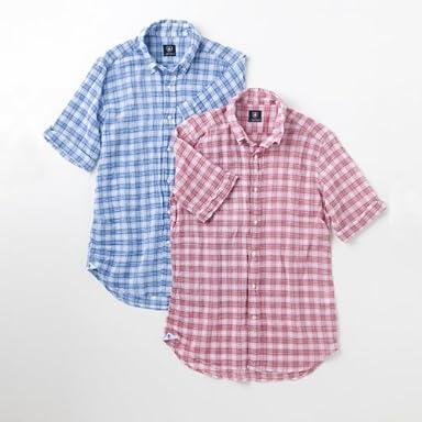 Maestri Fiorentini Short Sleeve Buttondown Shirt: Blue, Red