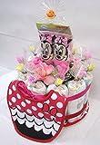 ご出産お祝い リーズナブルなお値段のかわいいおむつケーキ ディズニーK (女の子用ミニー)