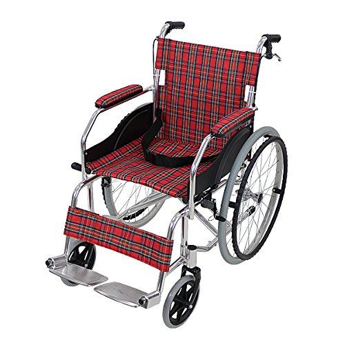 車椅子 アルミ合金製 レッドチェック 約11kg 軽量 折り...