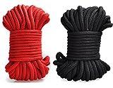 Rekink 64-foot 20m Long Soft Cotton Ropes (Black, Red) - Japanese Shibari BDSM Bondage Restraints Adult Game Clothing Accessory [並行輸入品]