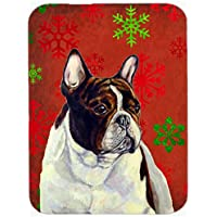 Carolines Treasures LH9337LCB French Bulldog Red And Green Snowflakes Christmas Glass Cutting Board - Large