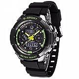 Amazon.co.jpGoenn 多機能 メンズ 腕時計 LED デュアルタイム アナデジ表示 シリコンバンド 防水 スポーツ アウトドア