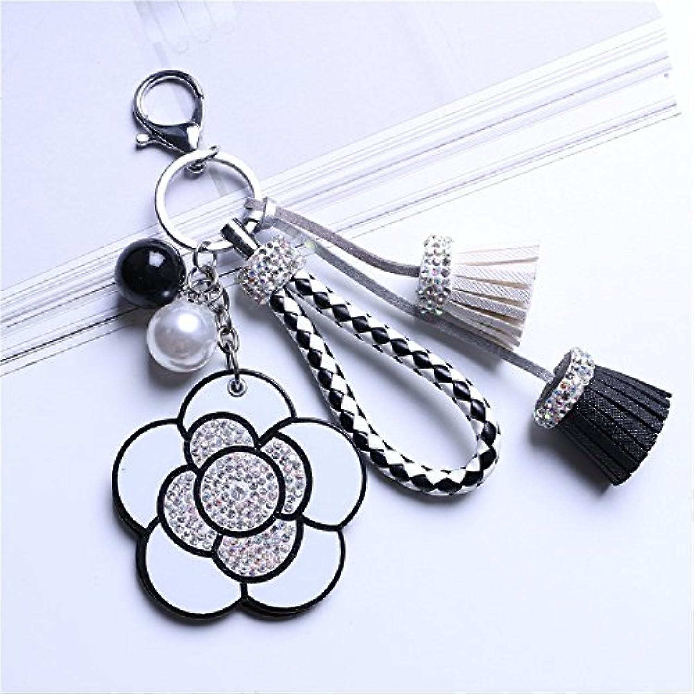 HuaQingPiJu-JP ミニ白い椿シェイプハンドミラー小さなガラスミラー工芸装飾化粧品アクセサリー