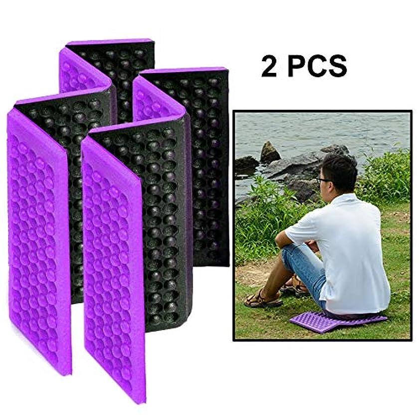 強打黒絶滅WTYDアウトドアツール 2 PCSポータブル折り畳み式携帯セルラマッサージクッション屋外用ダンププルーフピクニックシートマットEVAパッド キャンプ用品 (色 : 紫の)