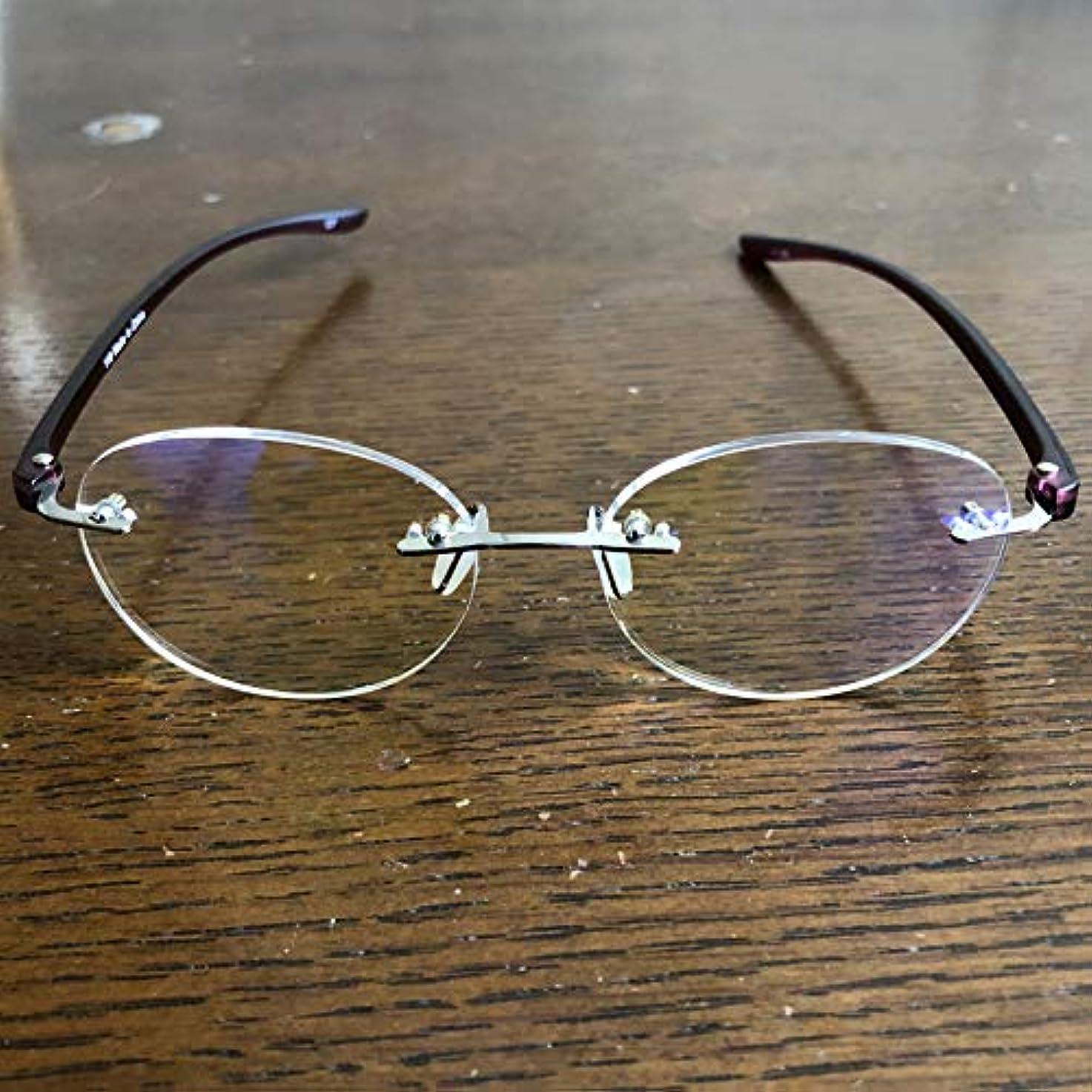 クリスチャン骨髄紫の老眼鏡 シニアグラス Two Point ブルーライトカット 118 全2色 リーディンググラス 男性用 女性用 ブルーライトカット35%(パープル,1.5)