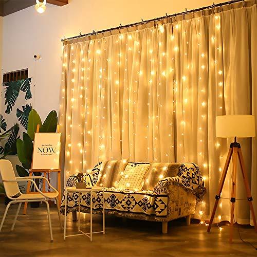 HYH LEDビーズ、カーテンライト、フェアリーストリングライト、星空ストリングライト、ガーデン、パティオ、ホーム、結婚式、パーティー、クリスマス 美しい人生 (Color : Beige, Size : 1m*3m)