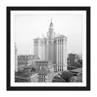New York Municipal Building Vintage Photo Square Wooden Framed Wall Art Print Picture 16X16 Inch ニューヨークビンテージ写真木材壁画像