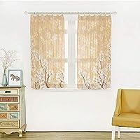 白い透け窓のカーテン レースカーテン 半透明感 ポンポン 洗える 省エネ 幅150x丈100m 2枚入 花の装飾、木の花芽春シーズンのペダルの花風のイメージ、黄色と白のボディ