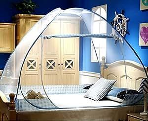 蚊帳 ワンタッチ式 ワイドサイズ 縦2m×横1.8m×高さ1.5m 軽量 チェック柄 (ブルー) 専用カバー付
