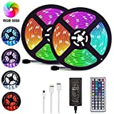LED Strip Lights, 32.8ft/10M 5050 RGB 300 LEDs Strip Lights Non-Waterproof Rope Lights Color Changing Tape Light Kit with 44