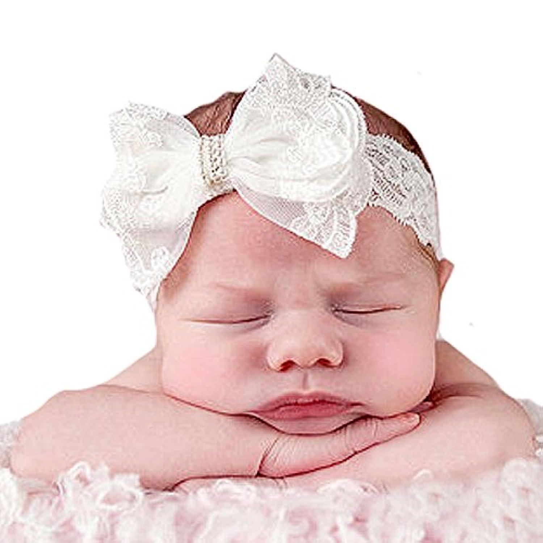 miugle赤ちゃん洗礼ヘッドバンドベビーガールズ洗礼式ヘアリボンベビーレースヘッドバンド