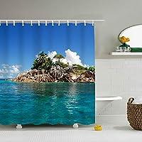 Seychelles Tropical Islandポリエステル生地防水防カビ加工165㎝幅X180㎝丈プリントシャワーカーテン