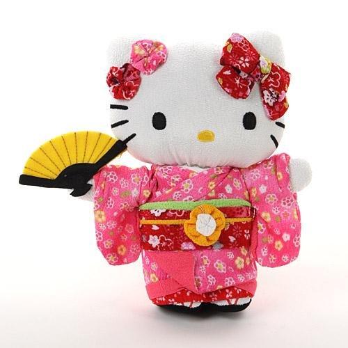ハローキティ ぬいぐるみ ちりめん日本人形 ピンク Mサイズ(全長20cm)